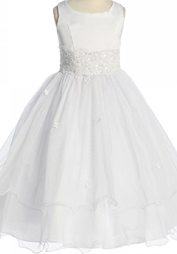 Big Girls' First Communion Lace Trim Tulle Wedding Flowers Girls Dress White Size 8 (K19D8) (Dress 8 Size Flower White Girl)