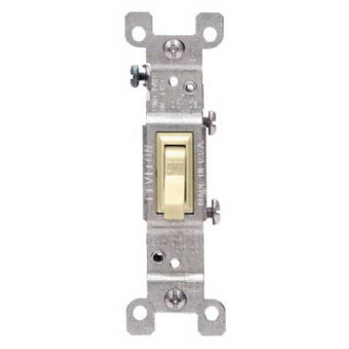 (Leviton 1451-2I 15 Amp, 120 Volt, Toggle Framed Single-Pole AC Quiet Switch, Residential Grade, Grounding, Ivory)