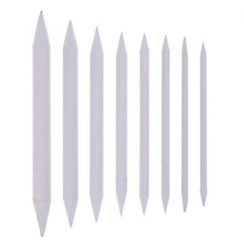 JiaUfmi 8 Pieces Blending Stumps and Tortillions Set Assorted Size Art Blenders Student White Sketch Drawing Tools xiaxiala