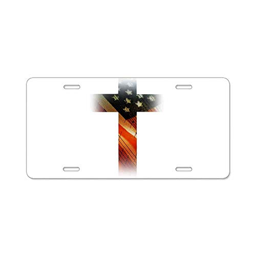 AhuiA-Flag in Cross Gifts Custom Personalized Aluminum Metal Novelty License Plate Cover Front Auto Car Accessories Vanity Tag- 6x12 Inches