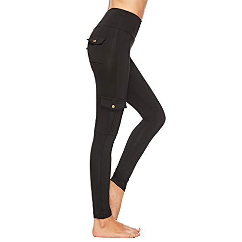 TIANMI Pants for Women,Summer Casual Elastic Tights Hip-up Bottom-up Pants Pocket Buttons Yoga Pants(Black,S)