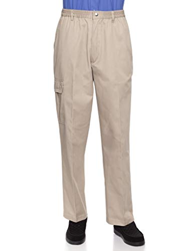 AKA Wrinkle Free Men's Full Elastic Waist Twill Casual Pant Khaki Large (Mens Casual Pants Wrinkle Free)