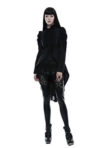 Punk Rave Vintage Double Breasted Tuxedo Coat for Women Embroidered Gothic Jacket Black ()