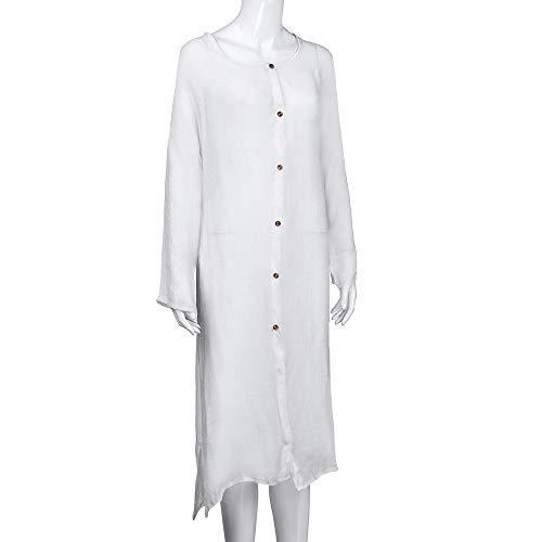 Breve Cappotto Lunga Manica Tunica Sottile Donne Mantello Aperta Cardigan Pulsante Jersh Giacca Anteriore Solida Casual Bianco rSqBrO