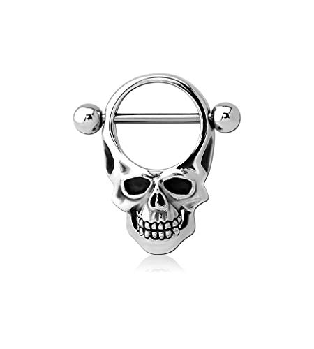 Bubble Body Piercing (1 Piece, not a Pair Surgical Steel Nipple Shield - Round Skull Gauge: 14g ()