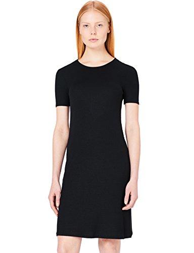 Slim Black Rib Fit Femme Robe T Shirt MERAKI Noir vqaSq