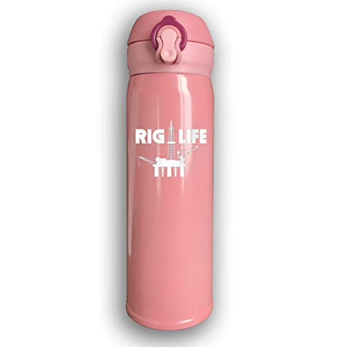 CC COLL Rig Life Oil Field Worker 500Ml Stainless Steel Water Bottle,Double Wall Vacuum Insulated Leakproof Thermos,Travel Mug,with Bounce Cover,Pink