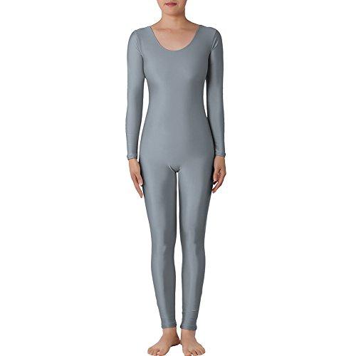 [Muka Scoop Neck Long Sleeve Unitard Lycra Zentai Bodysuit Catsuit Dancewear GREY-S] (80s Fancy Dress Ideas Men)