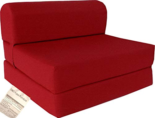 (D&D Futon Furniture Red Sleeper Chair Folding Foam Bed Sized 6