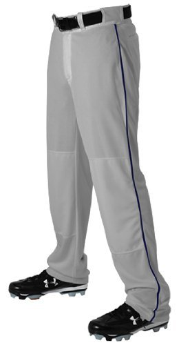 Alleson Ahtletic Boys Youth Baseball Pants with Braid, Grey/Navy, X-Large by Alleson Athletic