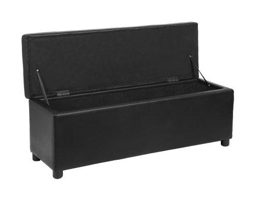 Seduta comoda Panca imbottita Sgabello Panca letto Cassapanca Panchina nero Ottomana 119 x 38 x 45 cm corium