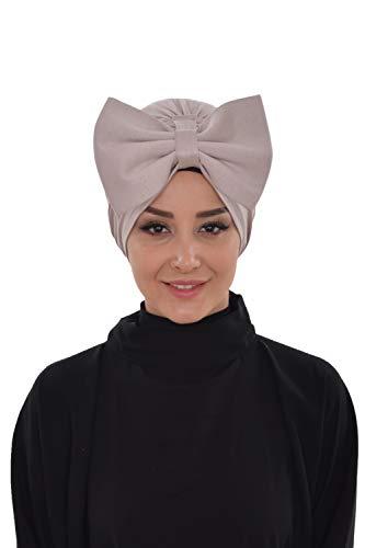 Instant Turban Cotton Scarf Head Wrap Chemo Headwear Cancer Hat Bowtie Mink