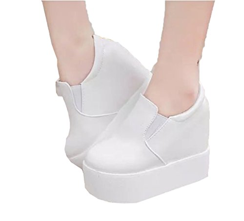 Women's increased heavy-bottomed canvas shoes (white? - 3