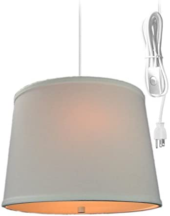 2 Light Swag Plug-in Pendant 14 w White Linen with Diffuser, White Cord