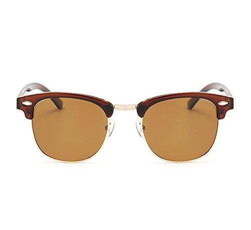 de classique femmes hommes Noir Marron soleil Rétro polarisées UV400 lunettes Huateng demi lunettes et nIW5YETq
