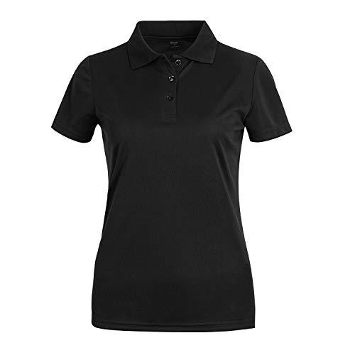 (Corna Womens Summer Tops, Dry Fit Short Sleeve Golf Polo Shirt,Plus Size Black 3XL)