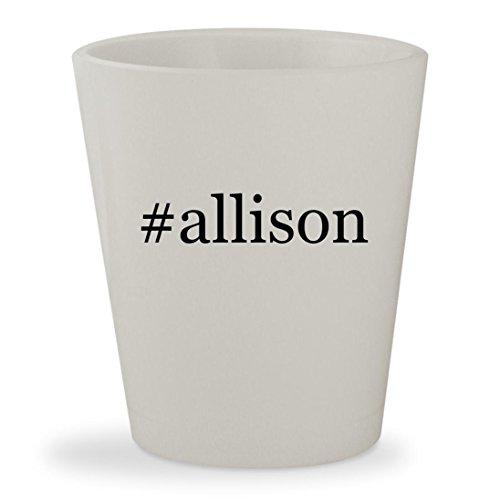 Allison   White Hashtag Ceramic 1 5Oz Shot Glass