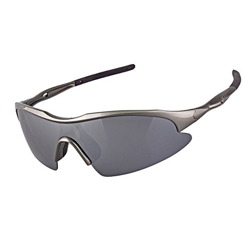 Paskyee Polarised Sports Sunglasses for Running Cycling Driving Ski Golf TR90 Ultra light Frame Design for Mens and Womens Silver