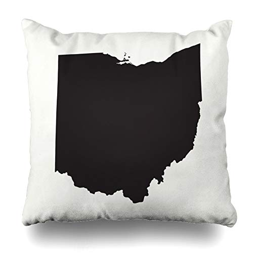 Ahawoso Throw Pillow Cover United Gray States Outline Map Ohio Abstract America American Area Atlas Design Geography Decorative Pillow Case Home Decor Square Size 20x20 Inches Pillowcase