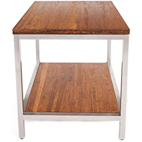 Bamboogle BKL 30 S 2420 K Industrial Chic Bamboo Furniture Rectangle Side Table With Steel Legs 24 8 X 20 X 22 Koa