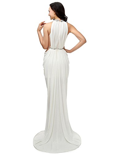 Mermaid Abendkleider Lange Neck Weiß High Erosebridal RUwOEE