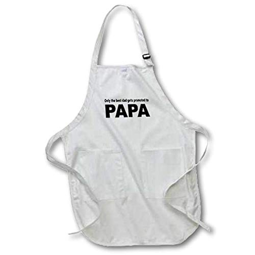 22 by 30-Inch 3dRose apr/_161122/_4 Only The Best Dad Gets Promoted to Papa Full Length Apron with Pockets Black