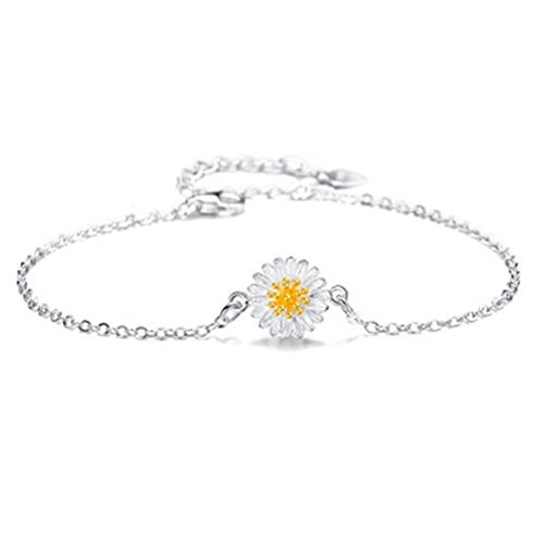 S925 Silver Plated Gold Daisy Sunflower Women Adjustable Ankle Bracelet,9.8'' lobster clasp ()
