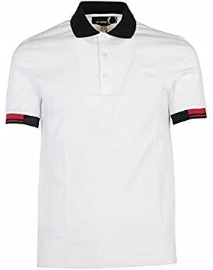 Men's SM142021100 White Cotton Polo Shirt