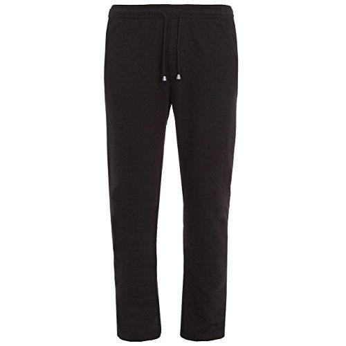 Cottonique Ladies Jersey Jog Pants - Womens Lightweight Open Bottom Sweatpants Black/Navy XL