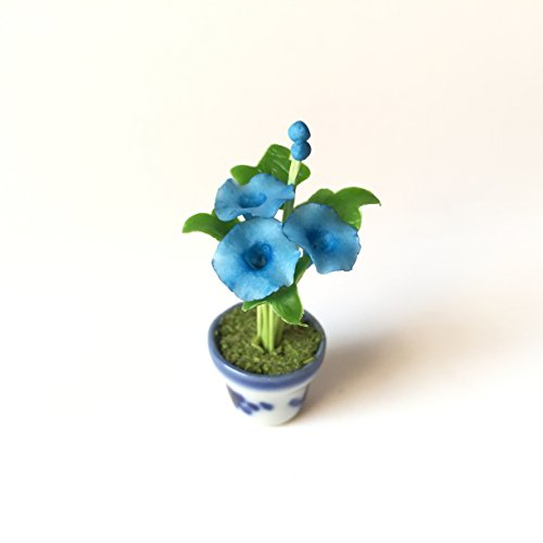 Morning Glory Blue Flower Flower Handmade Miniature Clay Collectible Crafts Dollhouse Garden - Song Christmas Guster