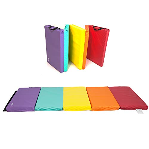 TOHU 2″ Thick Folding Aerobic Gymnastics Yoga Mat with Carrying Strap Five Panels