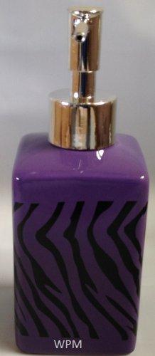 4 Piece Ceramic Bath Accessory Set: Soap Dispenser, Tumbler, Toothbrush Holder, Soap Dish- Black Purple Zebra Animal Print