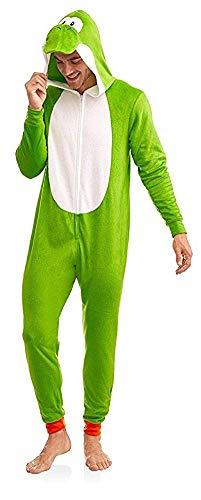 Super Mario Men's Faux Fur Licensed Sleepwear Adult Costume Union Suit Pajama, Yoshi, Size -
