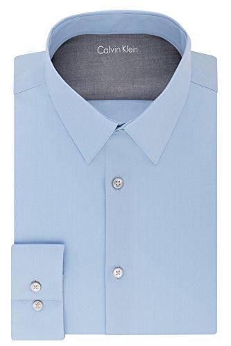 Calvin Klein Men's Thermal Stretch Xtreme Slim Fit Solid Dress Shirt, Light Blue, 15-15.5