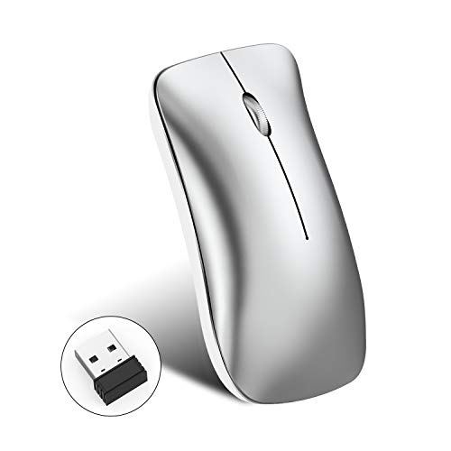 - HXSJ T23 Dual Mode Mouse Portable Mobile, Ultra-Thin Noiseless, Built-in Rechargeable Battery, Optical with Bluetooth 4.0/2.4GHz Wireless Mouse, Suitable for Notebooks, Tablets, Desktops (Gray)