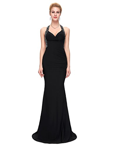 Grace Karin Women's Black Cross Backless Sequins Long Gowns Prom Dresses (6)