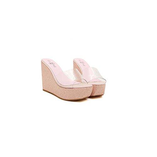 SHEO lentejuelas tacón de sandalias impermeable Plataforma para alto Pink sandalias transparente mujer de con 04x0qErw