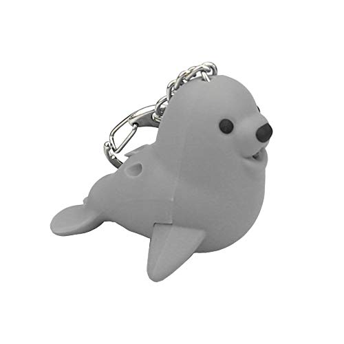 Matoen Cute Cartoon Seal Keychain with LED Light and Sound Keyfob Kids Toy Gift Seals Glow Sound Small Keychain (A, Gray)