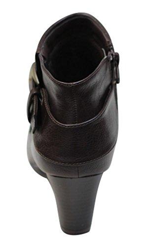 Bonnibel Dara-1 Womens round toe chunky heel ankle buckle strap side zip booties Brown 14SKrTvoY