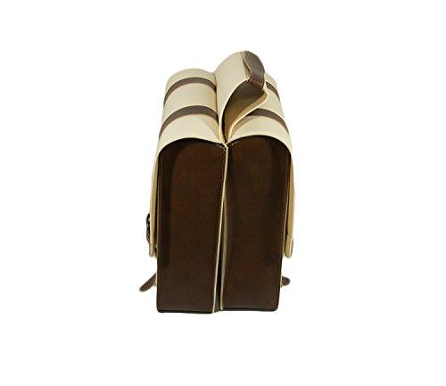 Pisa 1931 - Bike Bag fahrrad tasche. Gepäckträger. Fahrradgepäcktasche. Satteltasche, Fahrradtasche. Weinlese. Kunstleder. Farbe Creme/Braun. MADE IN ITALY (VIN_131 F_P/M)