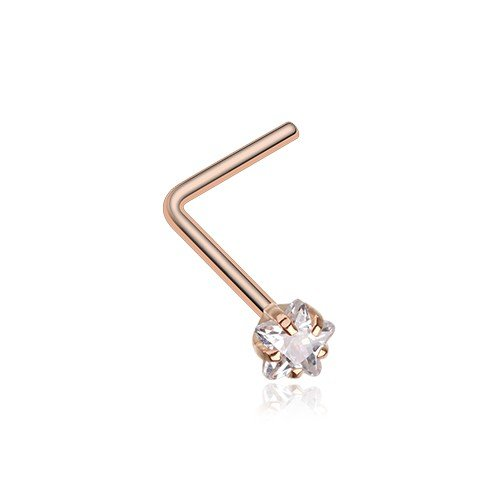 Rose Gold Star Prong Set Gem Top L-Shaped Nose Ring