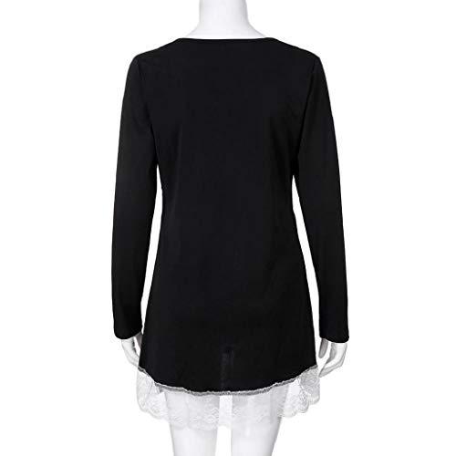 Shirt Femmes Chemise Solide Neck Manches Trydoit Large Tops Blouse Longues Casual O T Noir Femme Dentelle Automne Bouton Blanche PwBB6d