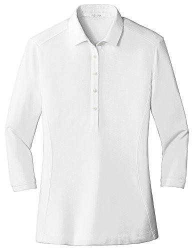 Joe's USA Ladies Coastal Cotton Blend Polo-M-White