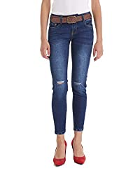 Suko Jeans Women's Ripped Denim Pants - Skinny Fit - Stretch- with Belt