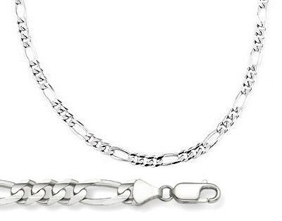 14k White Gold Figaro Link Solid 2.5mm 7 inches (White Gold Cable Bracelet)