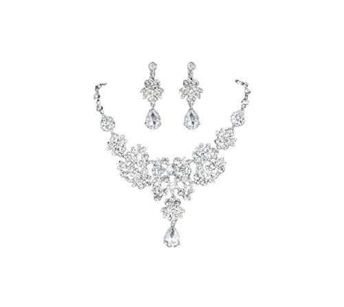 [Most Beloved Silver Alloy Rhinestone Earrings Crystal Pendant Necklace Bridal Jewelry Set (White)] (Color Guard Costumes Rental)