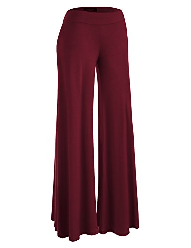 Burgandy Apparel - Made By Johnny WB1104 Womens Wide Leg Palazzo Lounge Pants L Wine