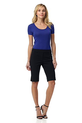 Rekucci Women's Smart Chic Short in Ultimate 360 Degree Stretch Cotton (4,Black)