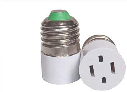 Outlet Plug Converter Adapter 2 Prong Type A Outlet Screw In Adapter Type A Outlet Converter E26 E27 Light Socket Adapter Two Holes 2pack