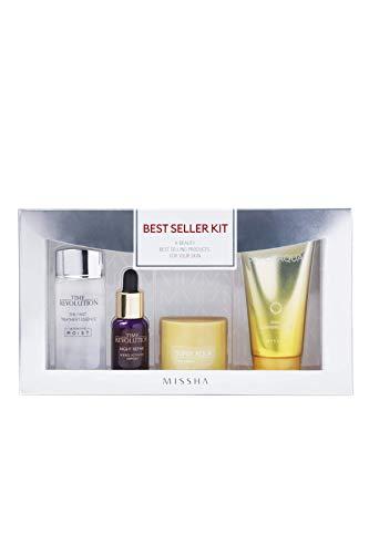 Missha Best Seller Kit, 4 Essential Travel Safe Products - First treatment Essence Moist, Night Repair Ampoule, Super Aqua Snail Cream, Snail Cleansing Foam